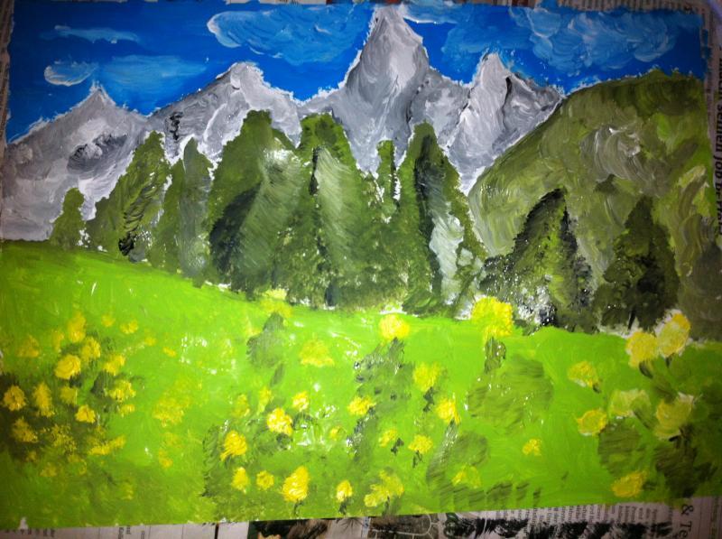 Schweizer Alpen Öl auf Papier