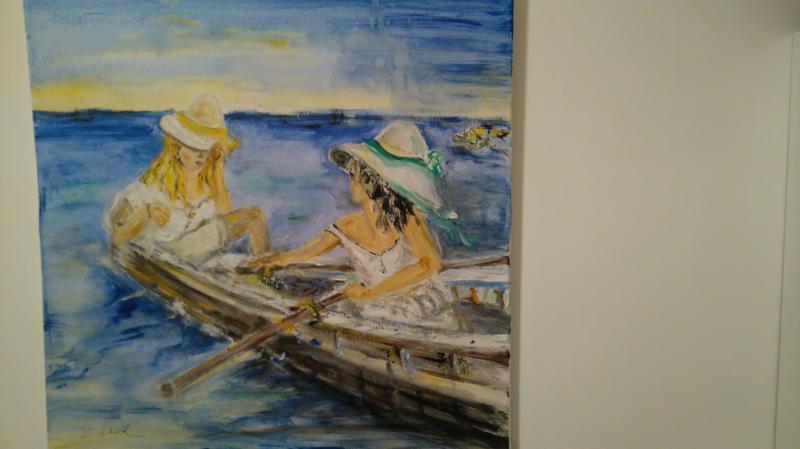 Zwei Girls im Boot