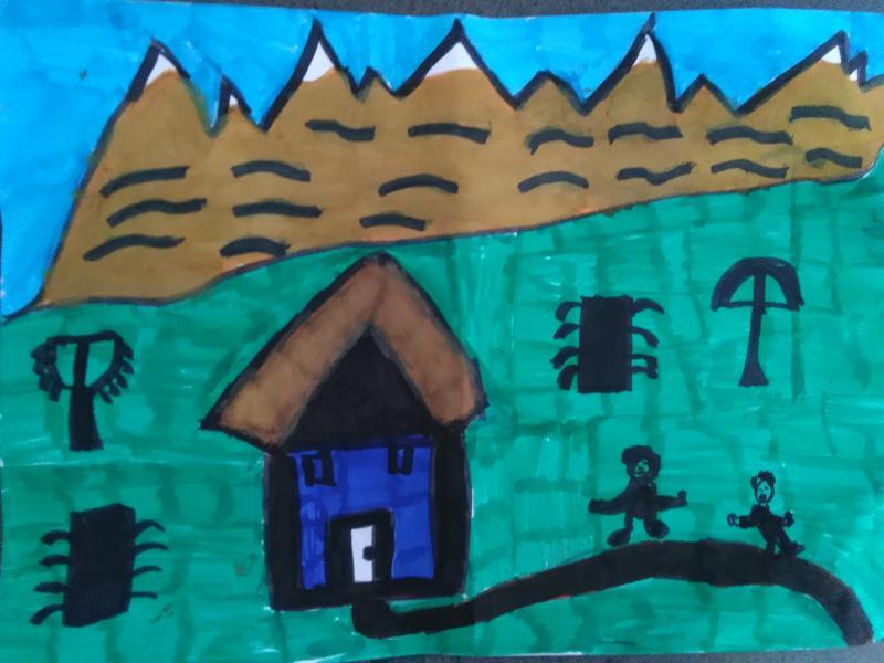 Haus, Wiese, Berge.