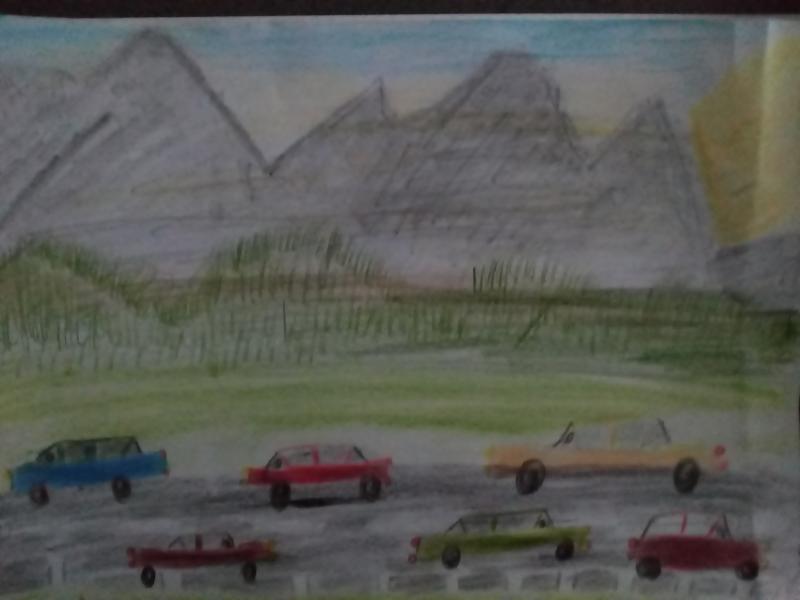 Autos, Landschaft, Berge.