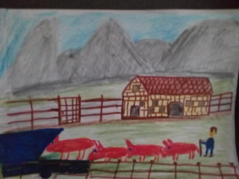 Haus, Tiere, Zaun,  Berge.