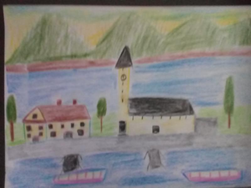 Haus, Kirche, See, Berge, Bäume, Schiffe.