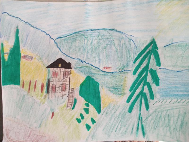 Häuser, Bäume, Berge, Wiese
