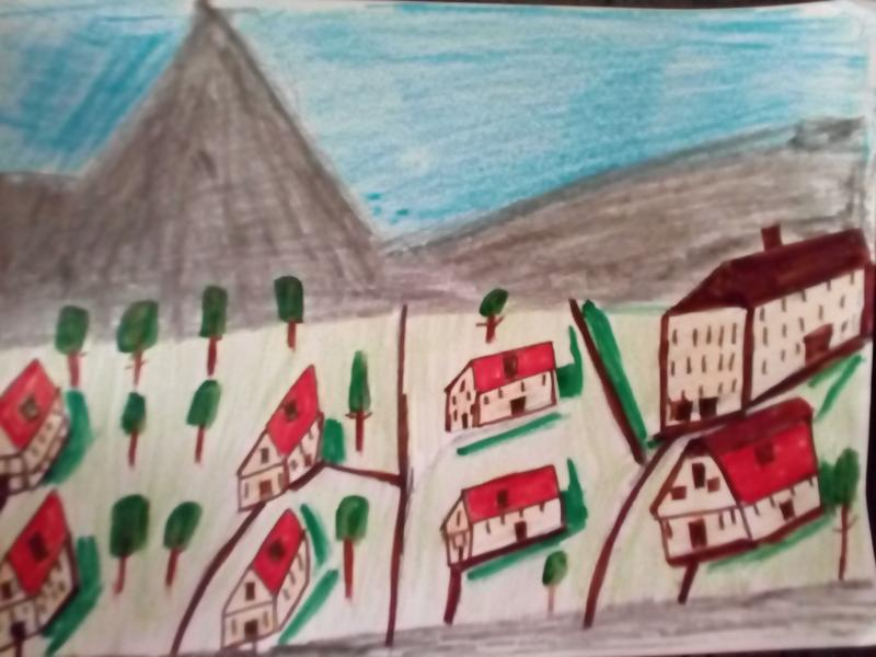 Häuser, Bäume, Wiese, Berge.