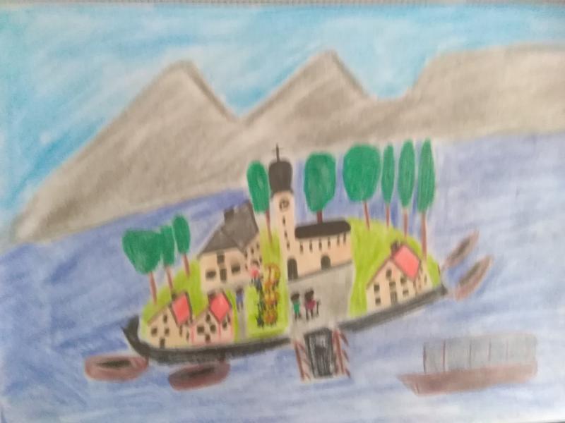 Insel, Häuser, Leute, Kirche.