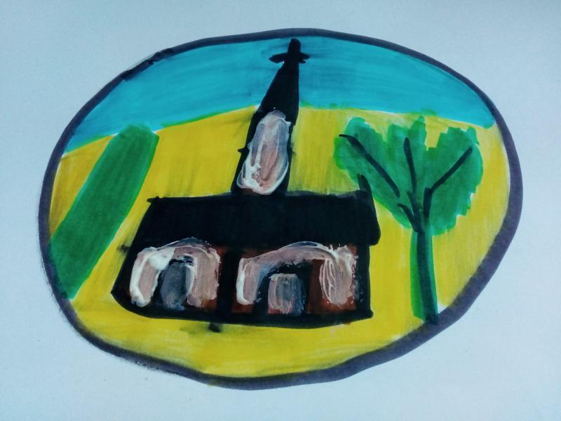 Kirche, Bäume und Sträucher inmitten einer Kugel.