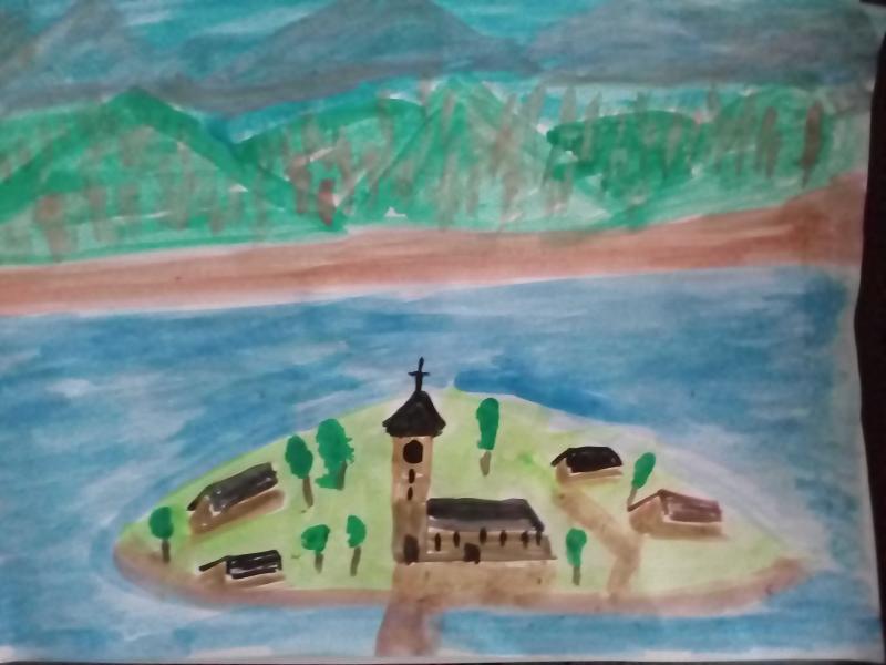 Insel mit Kirche, Häuser und Bäume.