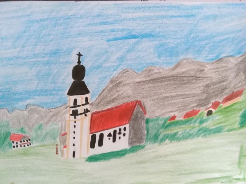 Landschaft, Kirche.