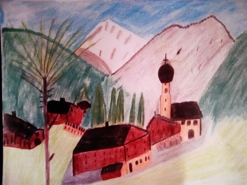 Landschaft, Kirche, Häuser, Berge.
