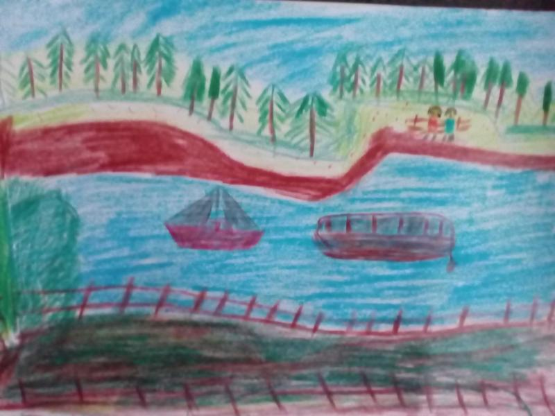 Landschaft und Natur, Fluss, Schiff.