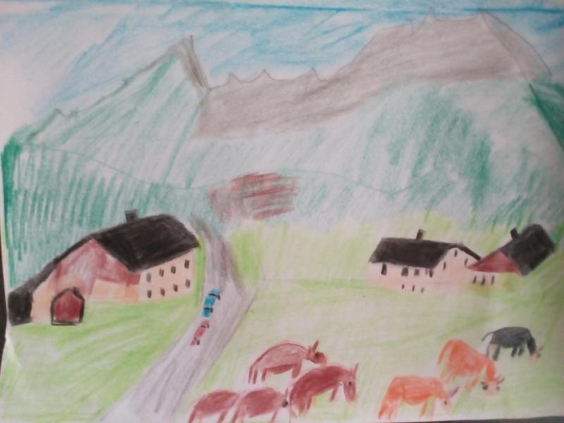 Landschaft und Natur, Häuser, Tiere.