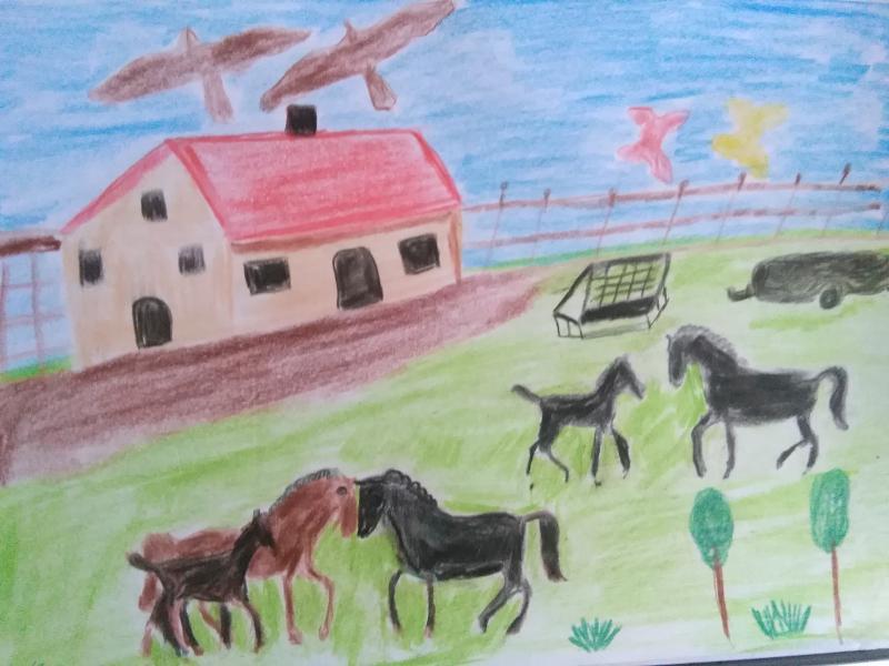 Landschaft und Natur, Häuser, Pferde,  Voegel.