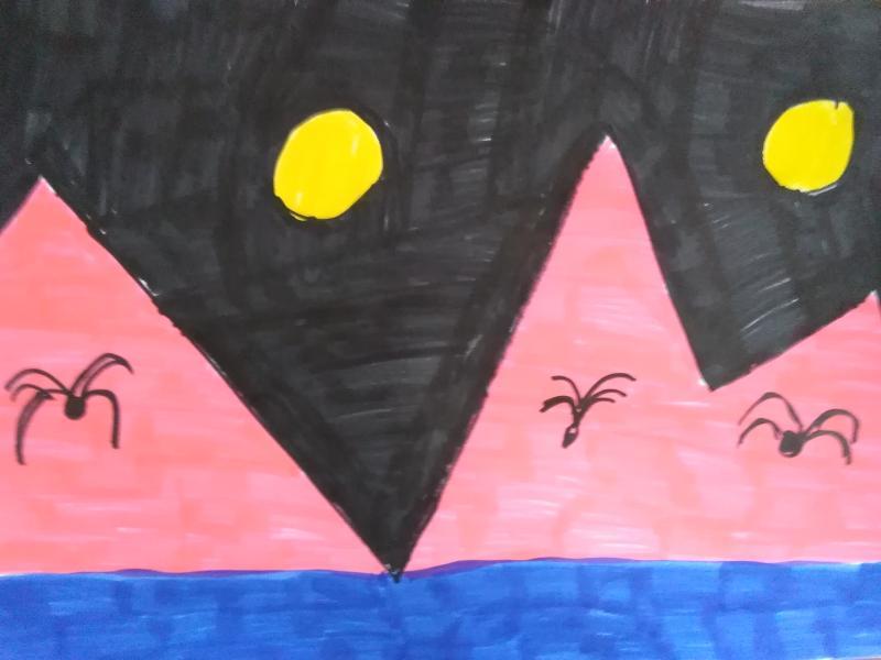 Pyramiden bei Nacht.