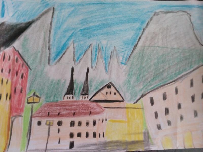 Stadt Berchtesgaden mit Stiftskirche und Watzmann.