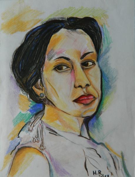 Nachdenkliche junge Frau
