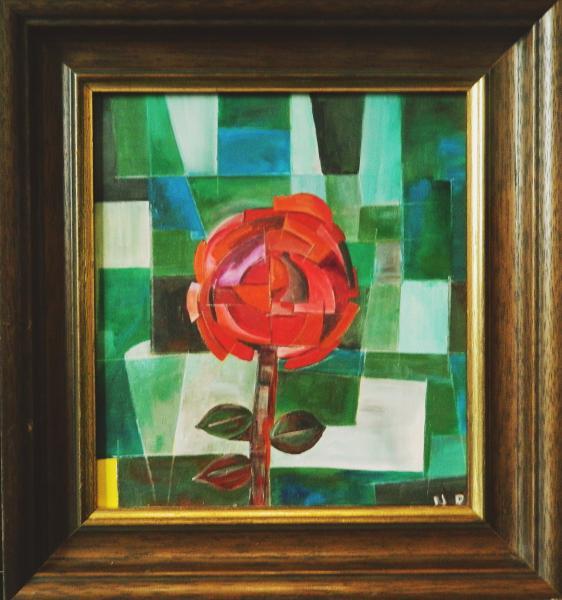 Rose mit gelber Ecke