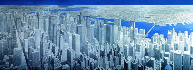 New York City(Triptych, 1997), oil on canvas, 220 x 600 cm  -    