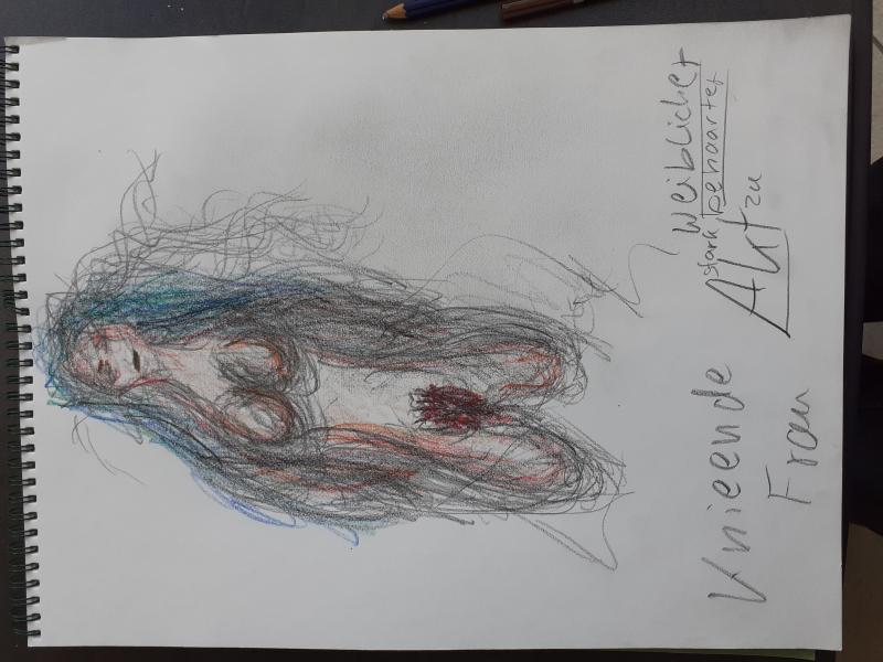 Zeichnung stark behaarte Frau