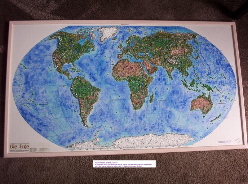 Reliefbild, jede gewünschte Region der Erde