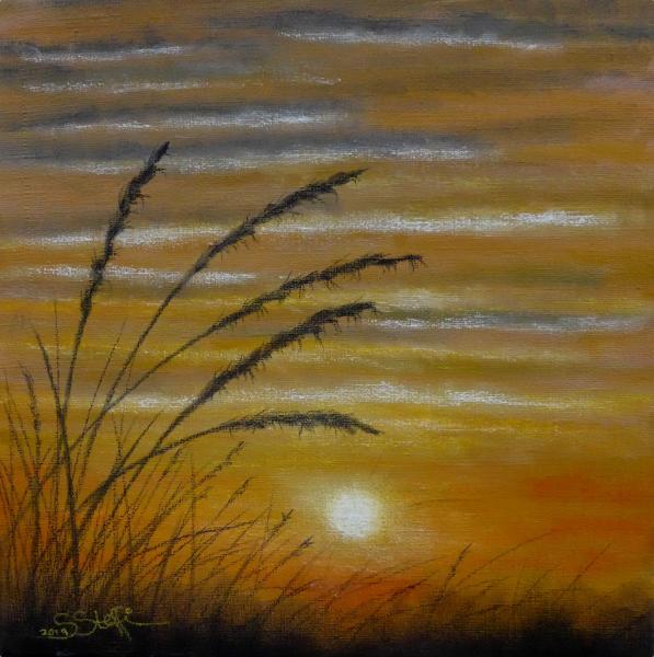 Abends zwischen den Gräsern I