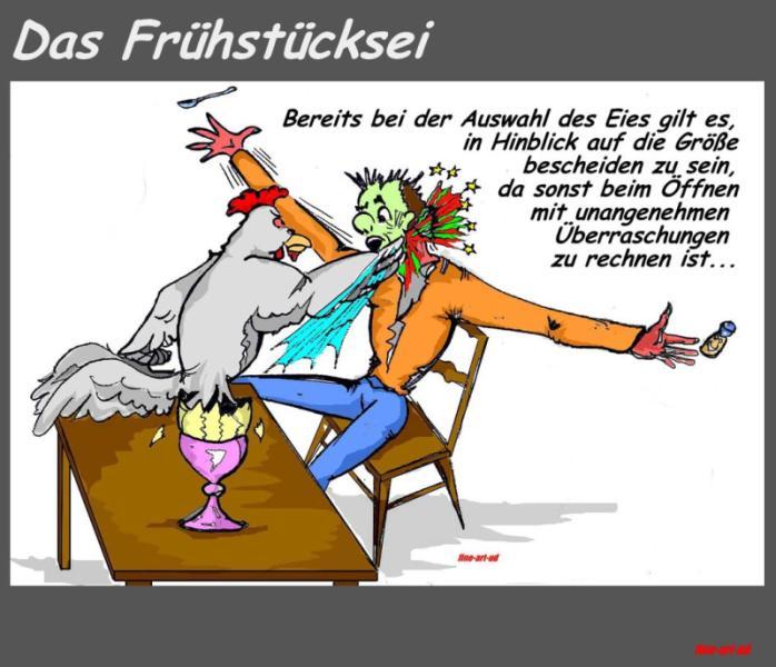 ' Das Frühstücksei - 2 ', Tusche/Filz, digit. bearbeitet, A4, Repro bis A3 : 750 00 €