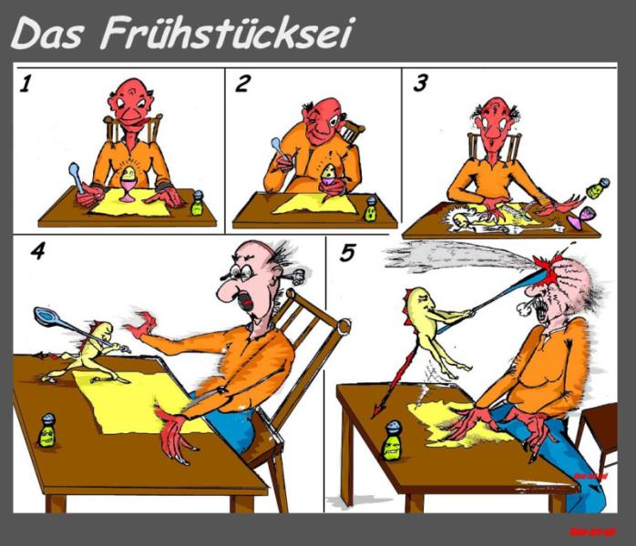 ' Das Frühstücksei - 3 ', Tusche/Filz, digit. bearbeitet, A4, Repro bis A3 : 750 00 €