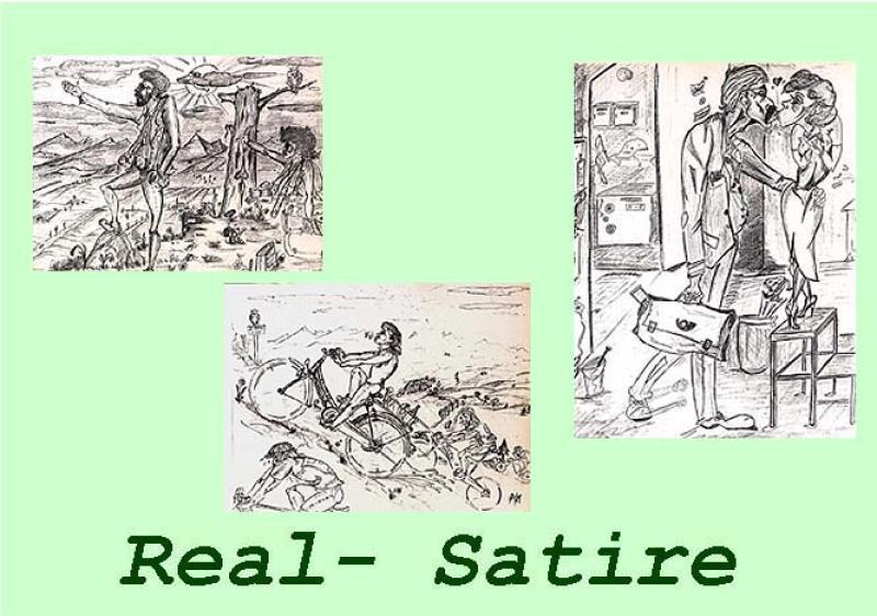 unverkäufliche Beispiele von Auftragsarbeiten : Sammler ' REAL-SATIRE ' , A3, Blei; bei Auftragserteilung : ab 950,00 € -A3-Blei;