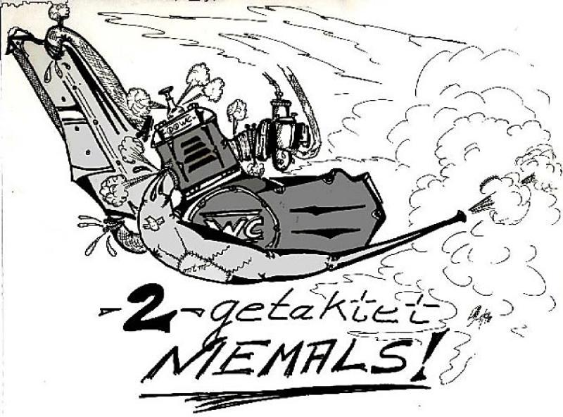 Serie Motorrad-Satire ' 2-getaktet ' , A3, Blei/Tusche ;Repro bis A2: 650,00 €