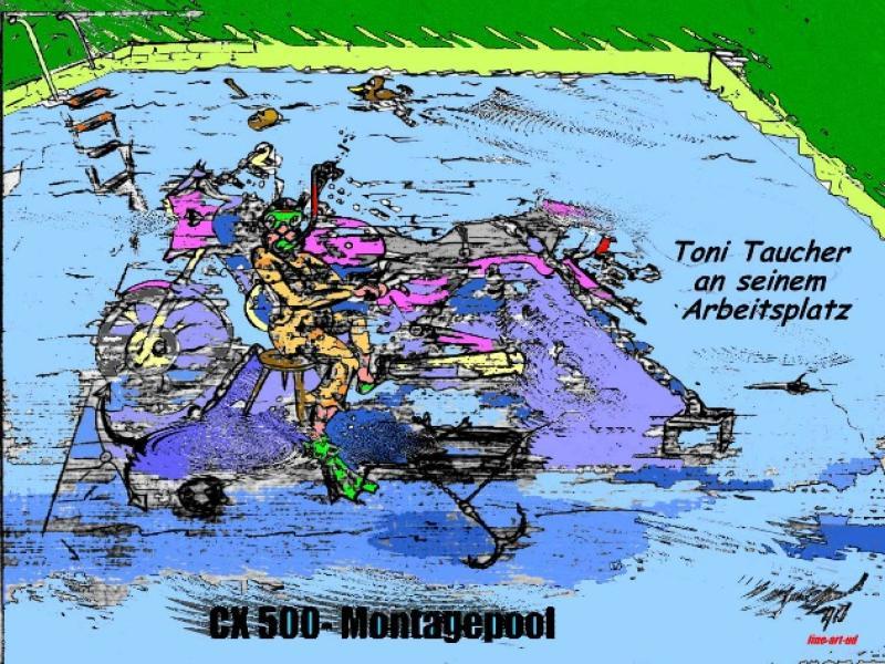 Serie Motorrad-Satire ' CX-MONTAGEPOOL ' , A3, Tusche/Farbe ;Repro bis A2: 850,00 €