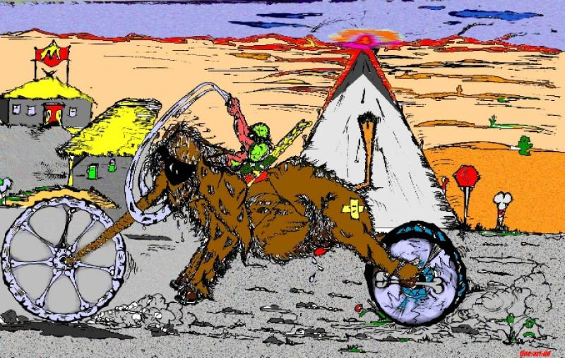 Serie Motorrad-Satire ' KNÜLCH-MAMMUT-1 ' , A3, Tusche/Farbe ;Repro bis A2: 850,00 €