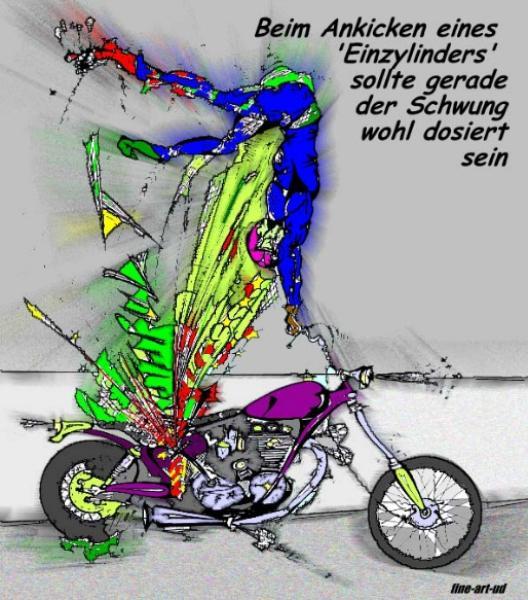 Serie Motorrad-Satire ' ANKICKEN ' , A4, Tusche/Farbe ;Repro bis A3: 650,00 €