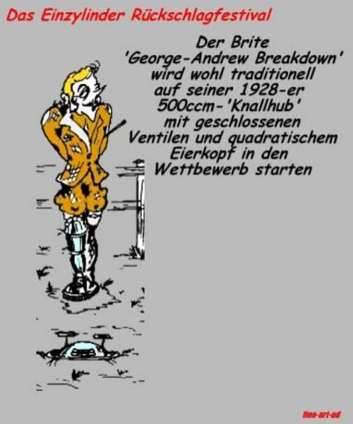 Serie Motorrad-Satire. Comicserie: ' RÜCKSCHLAG-FESTIVAL- Brite-vorher ' , A3, Tusche/Farbe ;Repro bis A2: 650,00 €