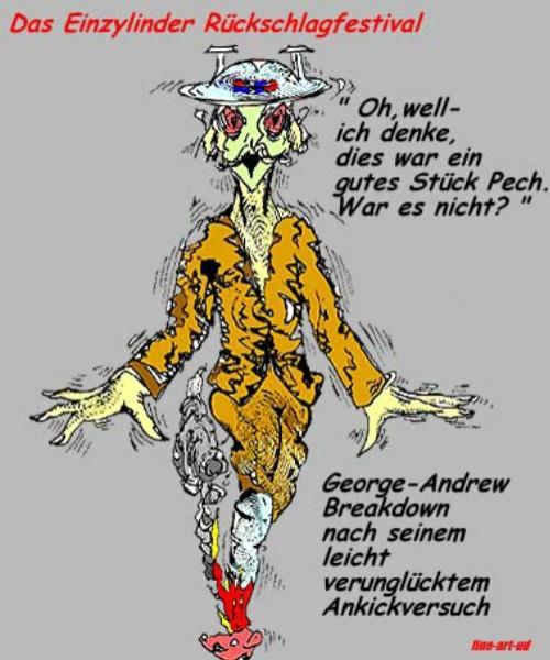 Serie Motorrad-Satire. Comicserie: ' RÜCKSCHLAG-FESTIVAL- Belgier-nachher ' , A3, Tusche/Farbe ;Repro bis A2: 650,00 €