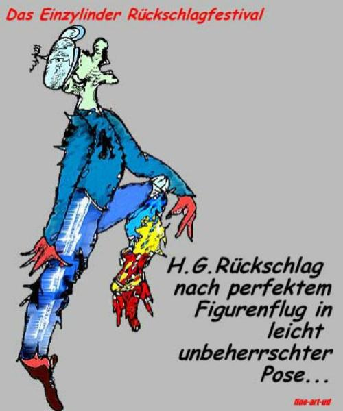 Serie Motorrad-Satire. Comicserie: ' RÜCKSCHLAG-FESTIVAL- Deutsche-nachher ' , A3, Tusche/Farbe ;Repro bis A2: 650,00 €