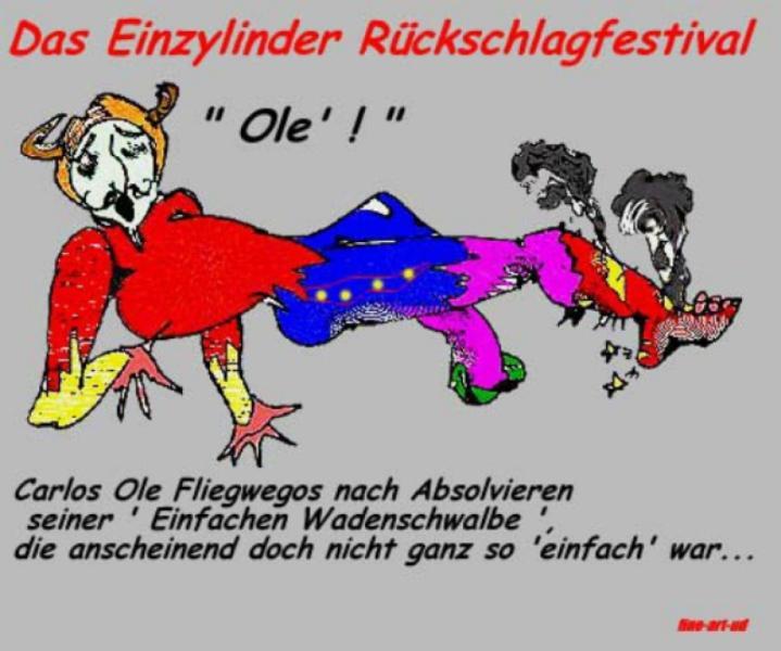 Serie Motorrad-Satire. Comicserie: ' RÜCKSCHLAG-FESTIVAL- Spanier-nachher ' , A3, Tusche/Farbe ;Repro bis A2: 650,00 €