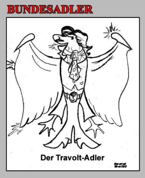 Serie 'Tiere' -Bundesadler , ' DER TRAVOLT-ADLER ', A4, Tusche, Repro bis A3 : 650,00 €
